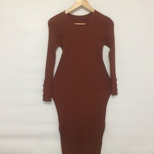 Dresses & Skirts - Rusty ribbed knitted figure hugging dress